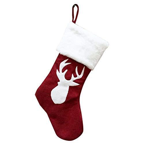 Leezo Calza di Natale classica, colore: rosso e bianco, da appendere, decorazione...