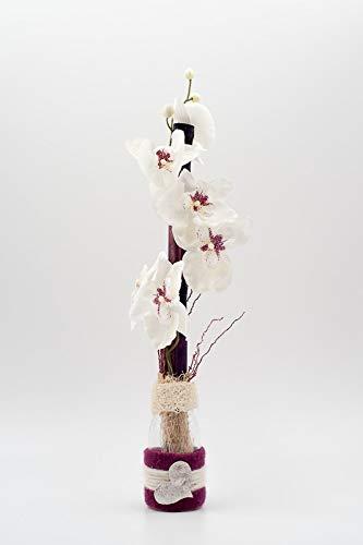 Arreglo floral con phalaenopsis blanca+un corazón en un jarrón-centro de mesa con orquídeas artificiales