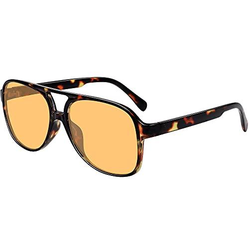 Gafas de sol de aviador vintage para mujeres y hombres de los años 70 clásicos retro grandes, (Lente tintada amarilla con marco de leopardo), Medium