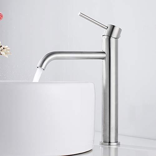 Grifo Lavabo Grifo Lavabo Alto Monomando Grifo para Baño en Acero Inoxidable para Agua Caliente y Fría (Satín)