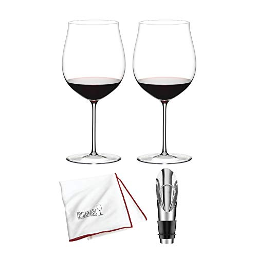 Riedel Sommeliers Burgundy Grand Cru Wine Glass, Set of 2 Bundle with Wine Pourer with Stopper and Polishing Cloth (4 Items)