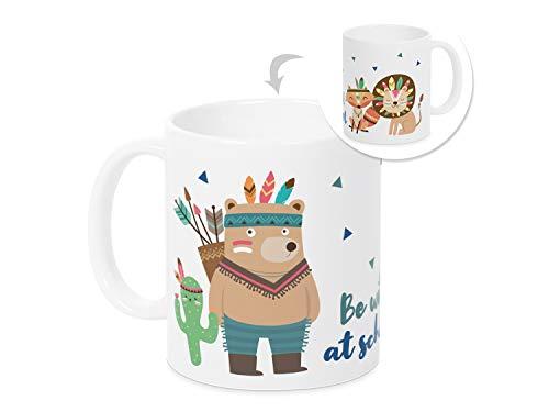 Grawade Tasse zur Einschulung, Indianer Be Wild at School, Geschenk Schüler, 1.Klasse, Schulstart