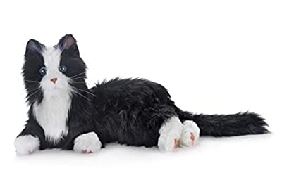 New Joy for All Robotic Reclining Black & White Tuxedo Cat - Stuffed Animal Therapy for People with Memory Loss from Aging and Caregivers from Ageless Innovations