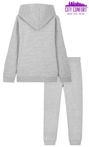 CityComfort Tracksuit For Girls, Hoodies And Joggers For Kids 3-14 Years (Light Grey, 7-8 Years)