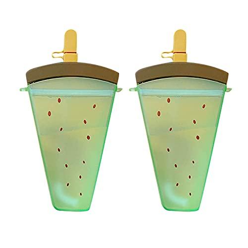 QIUTIANQ Taza De Agua para Niña con Forma De Paleta Anticaída Portátil Botella De Agua Esmerilada De Sandía De Color Lindo con Pajita Segura Y Fácil De Limpiar (Verde)