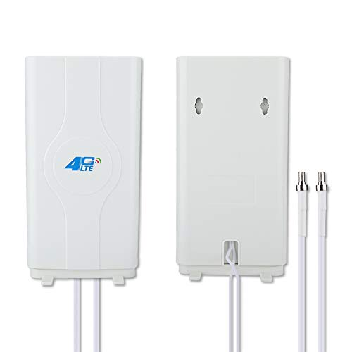 Diyeeni 4G LTE TS9 CRC9 SMA 88dBi High Gain Panel Antenna, 800MHz tot 2600MHz Dual 2m MIMO kabel, WLAN signaalversterker compatibel met wifi-router/modem/hotspot