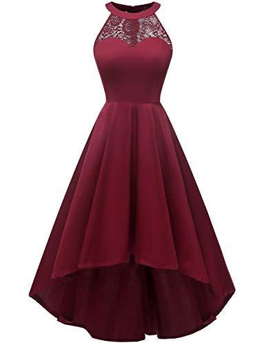 DRESSTELLS Damen 50er Vintage Rockabilly Kleid Neckholder Cocktailkleid Vokuhila Festliche Kleider für Hochzeit Burgundy M