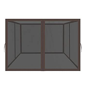 Easylee Universal 10'x 10' Gazebo Replacement Mosquito Netting 4-Panel Netting Walls for Patio with Zippers  Brown