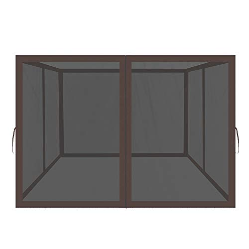 Easylee Universal 10'x 12' Gazebo Replacement Mosquito Netting, 4-Panel Netting Walls for Patio with Zippers (Brown)