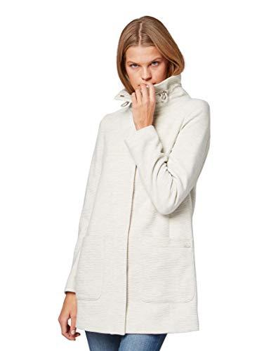 TOM TAILOR Denim Damen Jacke Sweatmantel in Einer schlichten A-Linie, Beige (Marble Beige Melange 10396), Large