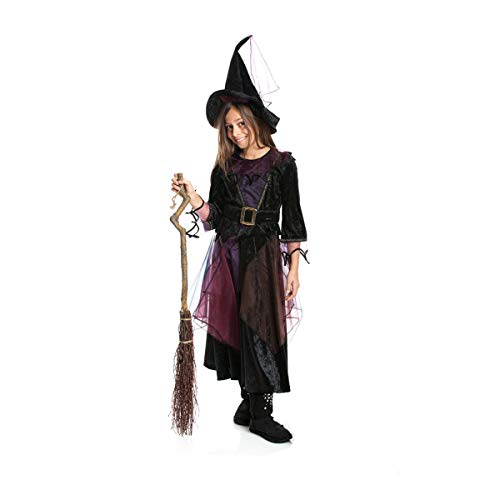 Kostümplanet® Hexen-Kostüm Mädchen + Hexen-Hut Kinder Kostüm Hexe Kinderkostüm Halloween und Fasching Farbe lila Größe 128