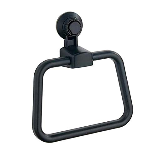 Meoliny Drill Free Vacuum Suction Cup Towel Ring Shower Washcloth Hand Round Towel Rack,Black
