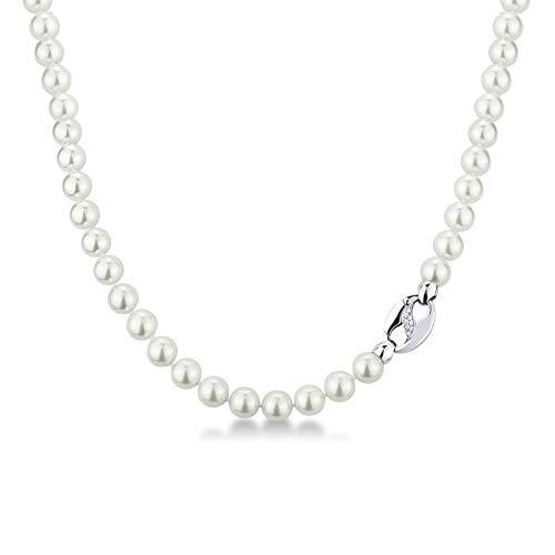 Gioielli di Valenza - Collana di Perle Giapponesi con Chiusura a Esse in Oro Bianco 18k e Diamanti - Sharada 8.5