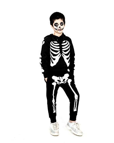 NOROZE Jungen Halloween Skelett Trainingsanzug Kapuzenpullover Pullover Jogger Unisex Set Jogginganzug (13 Jahre, Skelett Schwarz)
