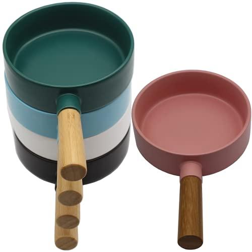 Plato / plato / mango de madera / comida occidental / plato de desayuno de cerámica creativo para el hogar / 1 pieza / color se distribuirá al azar