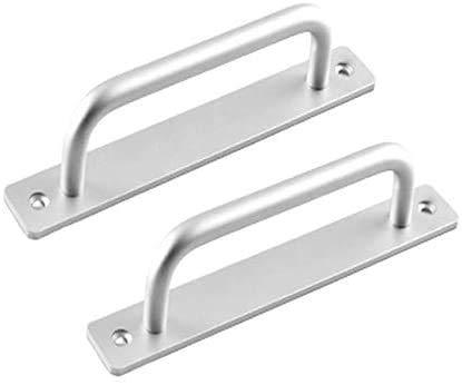 2 tiradores de puerta de granja para puerta cortafuegos, tiradores de puerta de armario, apertura por pulsador, plata, distancia de 160 mm