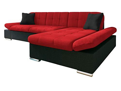Mirjan24 Ecksofa Malwi mit Regulierbare Armlehnen Design Eckcouch mit Schlaffunktion und Bettkasten, L-Form Sofa vom Hersteller, Couch Wohnlandschaft (Boss 14 + Lux 14 + Lux 08, Ecksofa: Rechts)