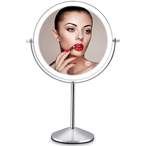 Lighted Makeup Mirror 10x Magnification, 8 Inch Rechargeable Tabletop...