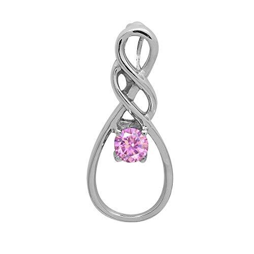 Opción múltiple Piedra preciosa de forma redonda Plata de Ley 925 Celta Nuevo colgante de diseño Joyas (Rosa CZ)