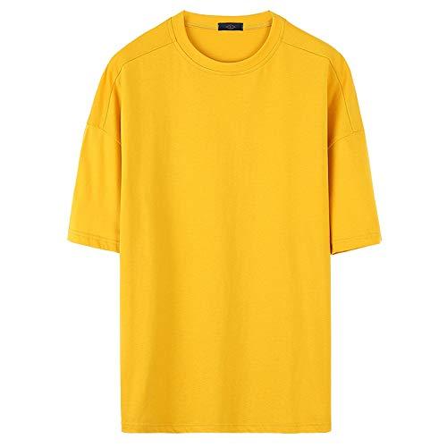 WARM ROOM heren T-shirt met korte mouwen, effen kleur onderbroek overhemd, heren korte mouw ronde hals coltrui effen kleur halve mouw