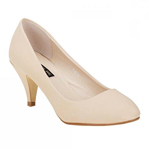 Klassische Damen Pumps Stilettos Abend Schuhe Party Hochzeit 33 (40, Beige)