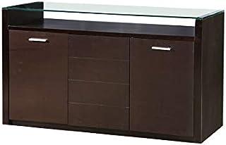 Design Vicenza Bivona - Aparador de cristal con 3 puertas color nogal oscuro