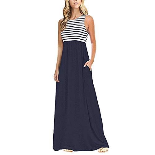 Zegeey Damen Kleid Sommer Kurzarm Schulterfrei Einfarbig Blumenkleid Maxi Kleid A-Linie Kleider Vintage Elegant LäSsige Kleidung Rundhals Basic Casual Strandkleider(X-Marine,L)