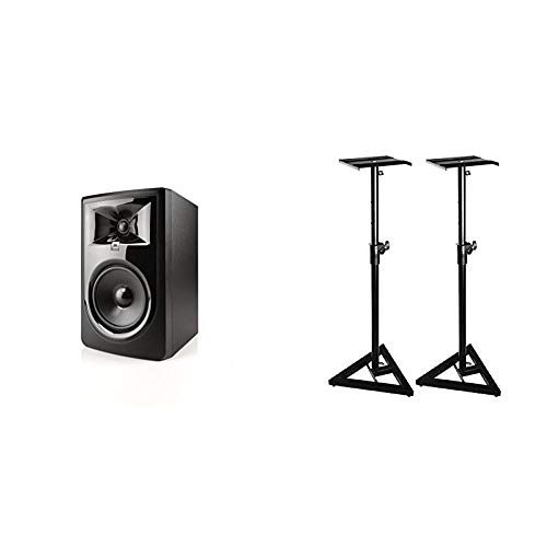 JBL Professional 306P MkII Next-Generation 6-Inch 2-Way Powered Studio Monitor & On-Stage SMS6000 Adjustable Studio Monitor Stand, Pair