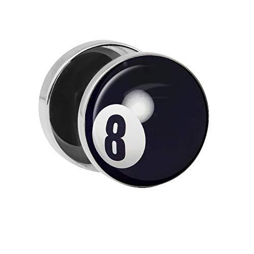 Treuheld | Ohrstecker zum Schrauben - 8-Ball Billard-Kugel - schwarz-weiß - Ø 10mm Silber - Motiv Fake-Plug Edel-Stahl Ohr-Ringe - Chirurgen-Stahl 316L Fake-Tunnel - Gewinde Rockabilly Ohr-Stecker