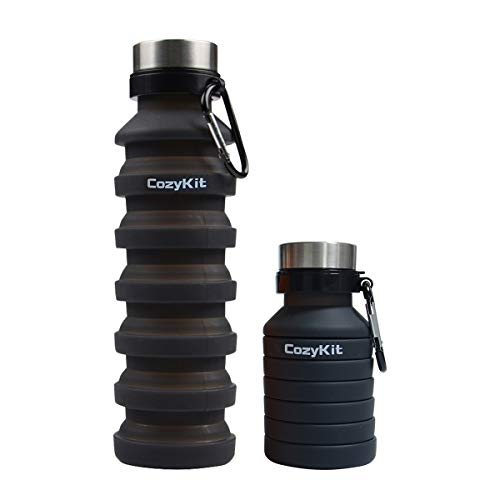 Collapsible Water Bottle Foldable Water Bottle for Travel, Collapsible Silicone Water Bottle, Portable Lightweight Leak Proof Water Bottle for Outdoor Sports Hiking Cycling Camping, 550ML, Blac
