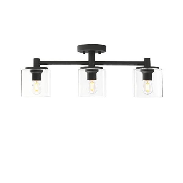 Pathson 3-Light Semi Flush Mount Ceiling Light, Industrial Pendant Lighting Fixture with Glass Shade, Ceiling Chandelier…