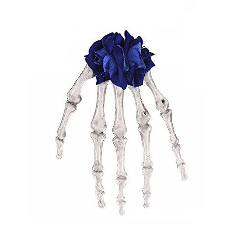 2 pinzas para el cabello con diseño de esqueleto de Halloween, con rosas y horquillas de calavera gótica para disfraz de Halloween (2 unidades), color azul