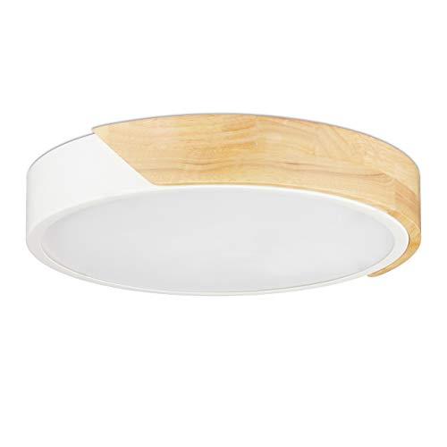 Relaxdays LED Deckenleuchte, warmweiß, 18 W, Ø 30 cm, Deckenlampe Wohnzimmer, Holz & Metall, Flurlampe rund, weiß