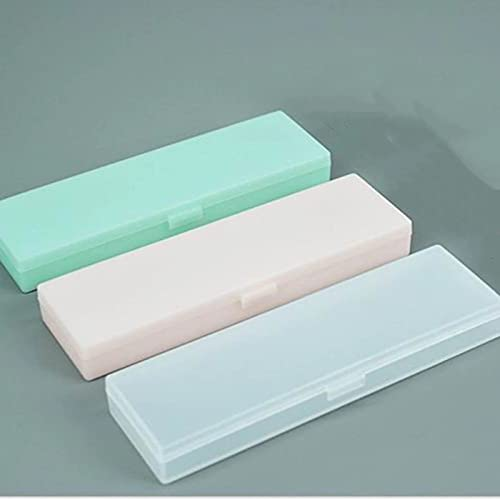 17 x 5 cm, 3 lápices de plástico transparente para estudiantes sin impresión y bajo contenido de carbono protección ambiental (transparente, verde, rosa)