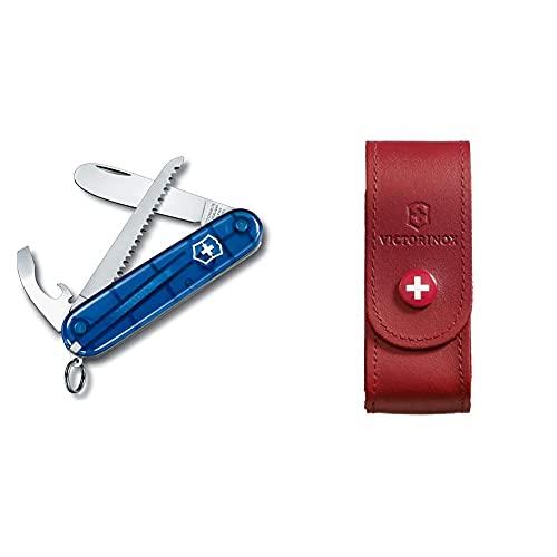 Victorinox My First Victorinox Petit Couteau de Poche Suisse pour Enfants, Léger, Multitool, 9 Fonctions, Bleu Transparent & 4.0520.1 Etui Cuir Rouge