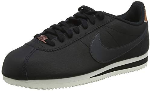 Nike Damen WMNS Classic Cortez Leather Fitnessschuhe, Mehrfarbig (Black/Anthracite/MTLC Red Bronze/Phantom 001), 43 EU