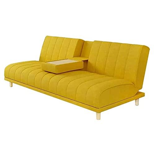 Tolalo Futon Sofá Cama, Tela Moderna Acolchada, sofá Cama, sofá Cama Plegable Convertible con Mesa de café Oculta y 4 Patas sólidas para Sala de Estar o Dormitorio, Amarillo