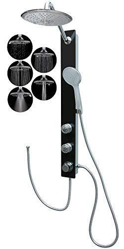 Duschpaneel Glas Dusche mit 2 Massagedüsen Schwarz Regendusche Duschsystem ohne Armatur