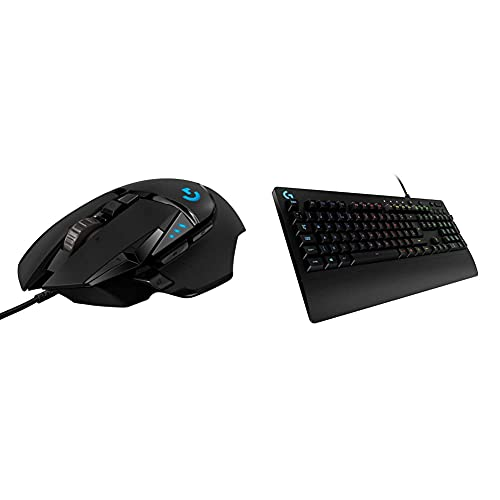 Logitech G502 HERO High Performance Wired Gaming Mouse, HERO 25K Sensor, 25,600 DPI, RGB, Adjustable Weights, 11 Programmable Buttons - Black & G213 Prodigy Gaming Keyboard - Black