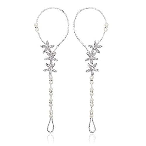 Artmiss Bridal Starfish Barefoot Sandals Women Beaded Bracelets Anklet Rhinestones Foot Chain Jewelry for Girls 2PCS