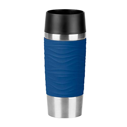 Emsa N2010600 Travel Mug Waves Isolierbecher, Thermobecher, 0,36 L, Blau