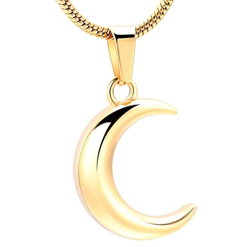 N / D Collar De Cremación Cremación de Luna de Color de Acero Inoxidable para Cenizas Collar de urna Recuerdos conmemorativos Colgante de joyería
