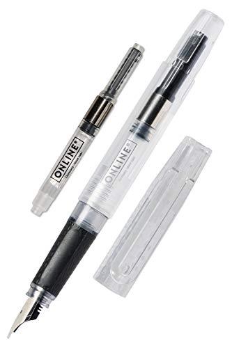 ONLINE Füllhalter Bachelor,transparenter Füller,breite Kalligrafiefeder 1,4 mm, für Standard-Tintenpatronen, ergonomisches Griffstück, nachhaltiger Konverter, für Lettering/Bullet Journal/Kalligrafie