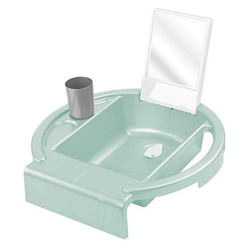 Rotho Babydesign Kinderwaschbecken Kiddy Wash, Zum Anbringen am Badewannenrand, 38,7 x 38,2 x 10 cm, Swedish Green (Mintgrün), 20034 0313 01