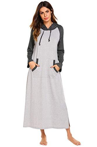 Ekouaer Nightgown,Women's Hooded Robe Full Length Sleepwear Pocket Loungewear