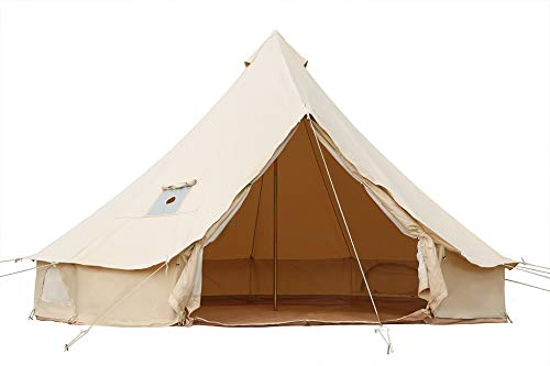 Outop Roomy 4M Bell Tent with Stove Jack(Top),Fire Retardant Canvas Tent for Camping All Seasons
