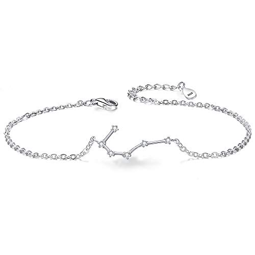 BriLove 925 Sterling Silver Bracelet -Cancer CZ Constellation Zodiac 12 Horoscope Astrology Women Link Bracelet Clear April Birthstone