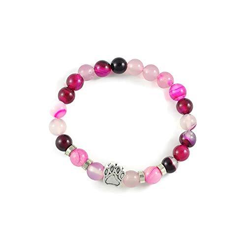 Pulsera 'DogLove' | Perlas Mala ágata rosa brillante | Piedra natural | Pulsera de piedras preciosas | Pulsera de perlas | Pulsera de energía | Joyas perro