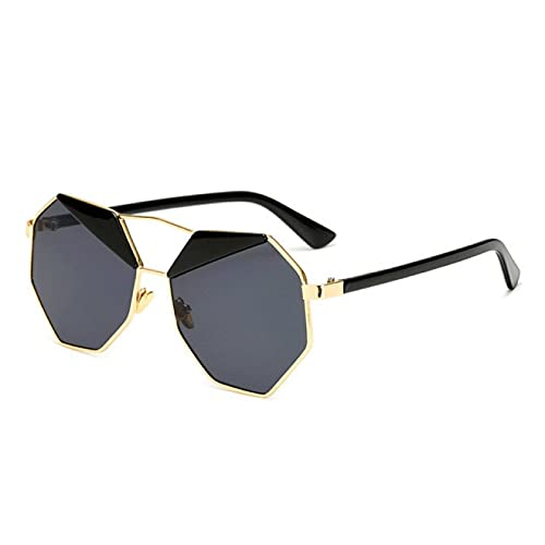 NBJSL Gafas de sol poligonales de metal vintage Hombres Mujeres Gafas gradiente deslumbrantes Gafas Gafas únicas Hombre (Caja de embalaje exquisita)