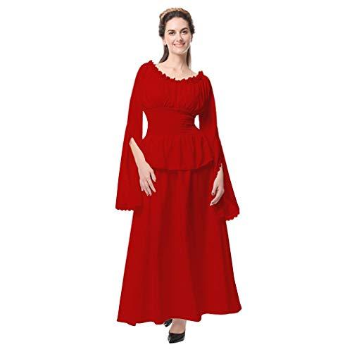 Auifor dames vintage Celtic middeleeuwse vloerlengte Renaissance Gothic Cosplay jurk
